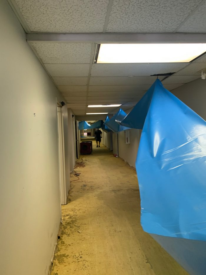 a photo of a commercial emergency water mitigation project